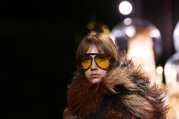 A model presents a creation from the Michael Kors collection during New York Fashion Week in New York