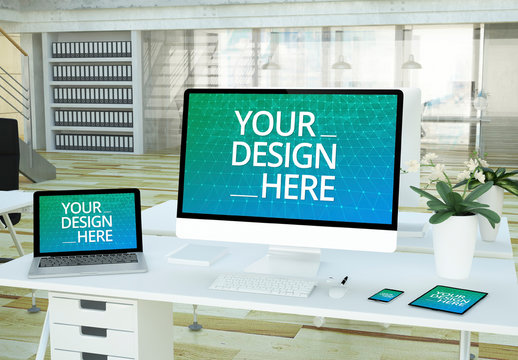 Mobile Devices and Laptop on Desk Mockup