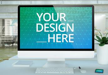 Desktop Computer and Laptop on Office Desk Mockup
