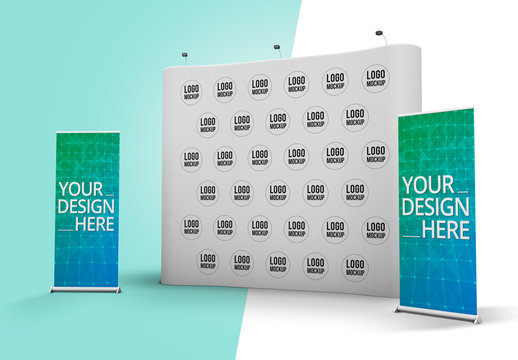 Three Roll-Up Banners Mockup