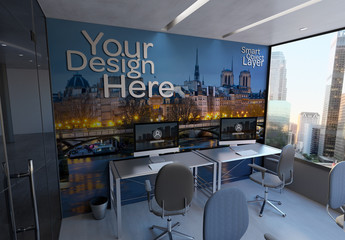 Office Wall and Desktop Computers Mockup