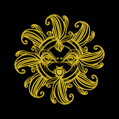 Beautiful graphic sun with a face. Ancient god. Drawn vintage illustration. Good element, sticker, tattoo, etc.