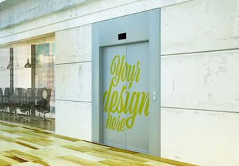 Elevator Doors with Decal Art Mockup