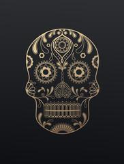 Golden Sugar Skull day of the dead vector illustration on dark background.