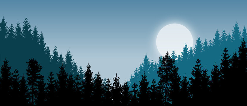 Beautiful realistic widescreen vector with dark green forested mountains and a rising moon.