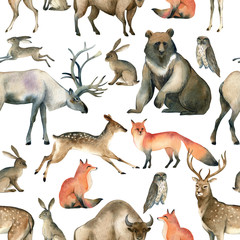 Watercolor realistic forest animal sketch. Seamles pattern about red fox, hare, brown bear, deer, elk, owl, bison, stag