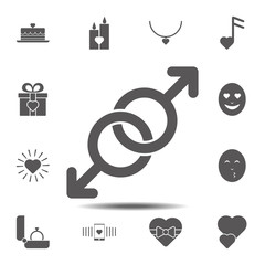 Gays, spear of mars, love icon. Simple glyph, flat vector element of valentines day icons set for UI and UX, website or mobile application