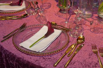 Detail of a wedding dinner