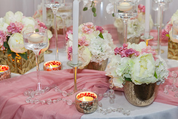 Wedding decorations, candles and flowers