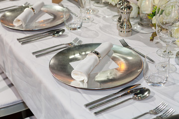 Table set for an event party or wedding reception