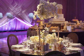 Moody backlit ambience of a wedding reception