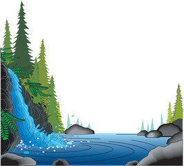 Waterfall Border Vector Illustration