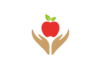 Hands that care for food and nature hold apple for logo design