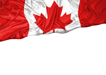 National flag of Canada hoisted outdoors with white background. Canada Day Celebration Wall mural