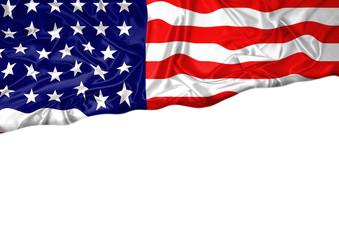 National flag of United States of America hoisted outdoors with white background. United States of America Day Celebration
