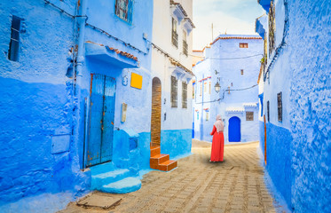 Printed roller blinds Morocco Blue street of medina in Chefchaouen, Morocco