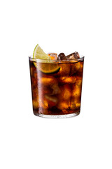 Refreshing Rum and Cola Cocktail on White