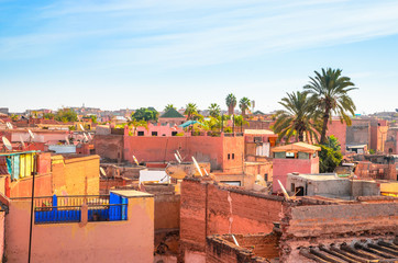 Foto auf AluDibond Himmelblau Panoramic view of Marrakech and old medina, Morocco