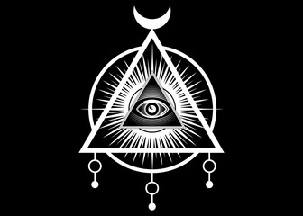 Sacred Masonic symbol. All Seeing eye, the third eye (The Eye of Providence)  inside triangle pyramid. New World Order. Hand-drawn alchemy, religion, spirituality, occultism. Vector isolated or black