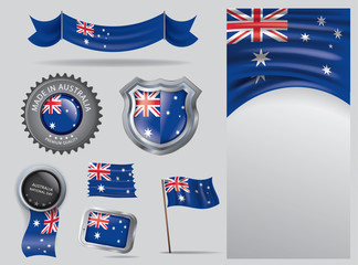 Made in Australia seal, Australian flag and color  --Vector Art--