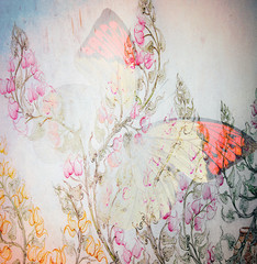 grunge butterfly and flowers background