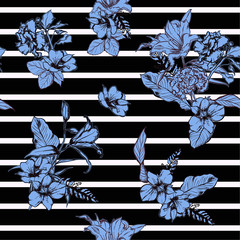 Beautiful modern hand drawn blue flowers seamless pattern vector on nautical stripe design for fashion ,fabric ,wallpaper, and all prints