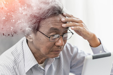 Asian elder lost memory from dementia or alzheimer disease concept Wall mural