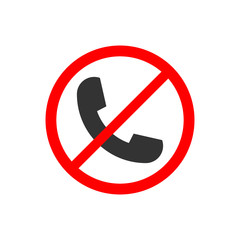 No phone sign vector flat icon. No talking and calling icon. Red cell prohibition illustration for graphic design, logo, web site, social media, mobile app, ui illustration