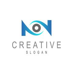 eye letter n logo template
