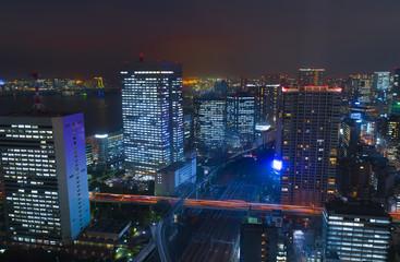 東京夜景 浜松町から望む品川 田町方面
