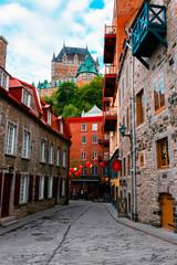 Quartier Petit Champlain and Frontenac Castle in Old Quebec City, Quebec, Canada