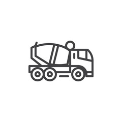 Concrete mixer truck line icon. linear style sign for mobile concept and web design. Concrete Delivery Truck outline vector icon. Symbol, logo illustration. Pixel perfect vector graphics