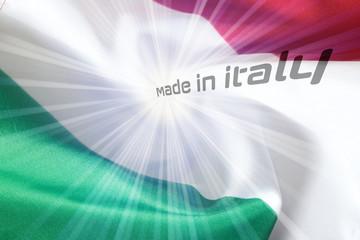 Flagge von Italien und Slogan Made in Itay