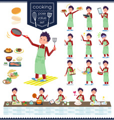 flat type school boy red jersey_cooking