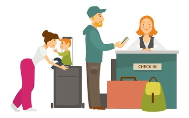 Reception desk check in airport family with baggage and receptionist