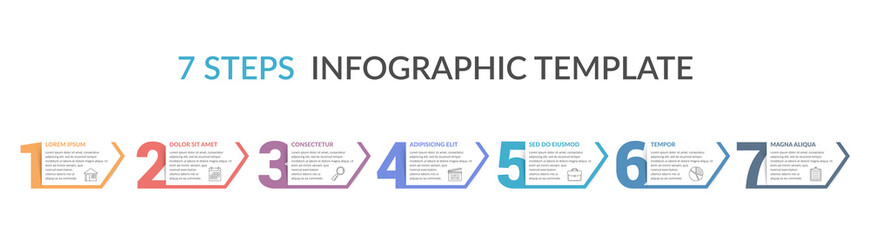 Seven Steps Infographic Template Wall mural