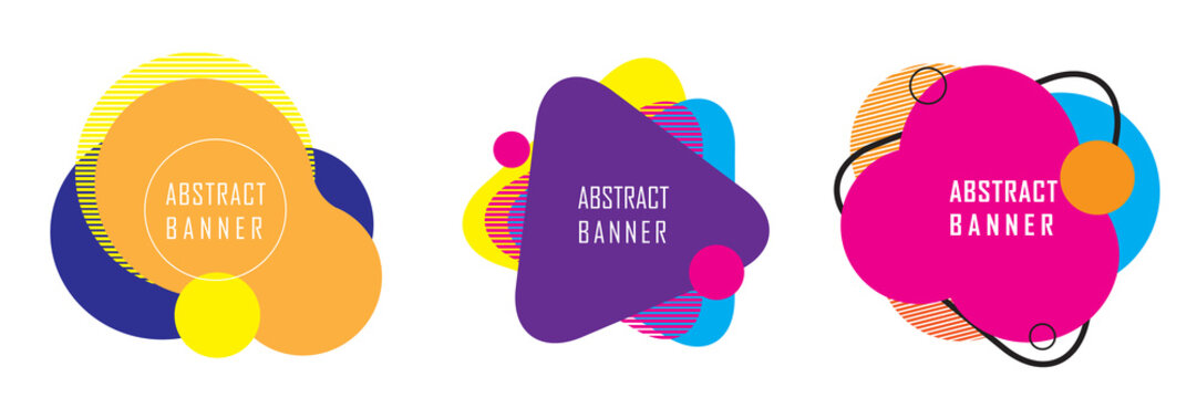 set of abstract geometric shape banner, abstract modern graphic element