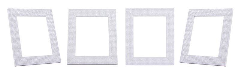 GROUP of White frames with small tile decorate isolated on white background.