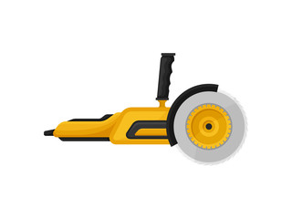 Electric angle grinder with steel toothed disc. Power tool. Equipment for construction works. Flat vector icon