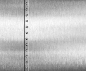 Metal brushed steel or aluminum background with rivets
