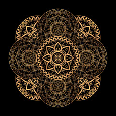 Luxury gold black mandala vector. Ethnic royal pattern snowflake. Tribal round design for Christmas ornaments, holiday card decoration, beauty spa salon or yoga studio decor, wedding invitation.