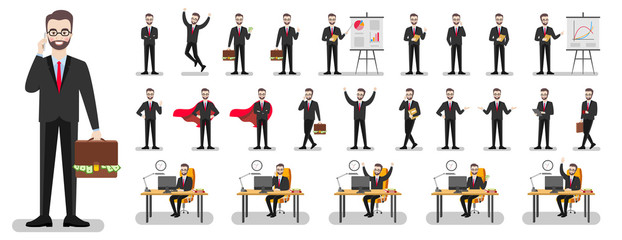 Set of characters of a businessman in a suit on a white background in various poses. Vector flat illustration.
