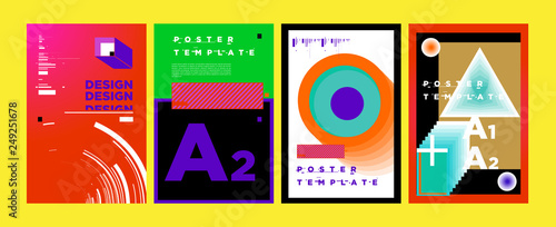 Abstract Geometric Collage Poster Design Template In Trendy Colors