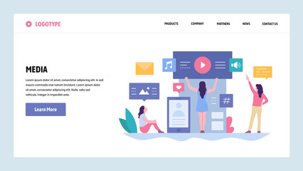 Vector web site gradient design template. Online digital media content. Music, video and photo content. Landing page concepts for website and mobile development. Modern flat illustration.