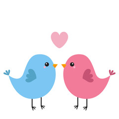 Two bird couple. Pink heart. Happy Valentines Day. Love Greeting card. Cute cartoon kawaii baby character. Flat design. White background. Isolated.