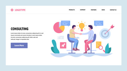 Vector web site gradient design template. Business deal, partnership contract and investment. Landing page concepts for website and mobile development. Modern flat illustration.