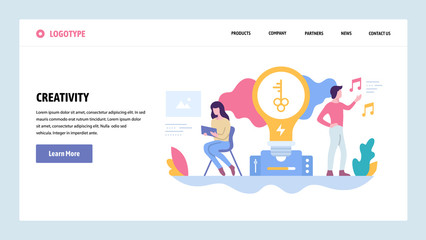 Vector web site gradient design template. Creative process and new ideas. Creativity concept. Landing page concepts for website and mobile development. Modern flat illustration.