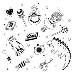 Kid's toys and sweets. Black and white illustration for coloring book. Vector outline illustration
