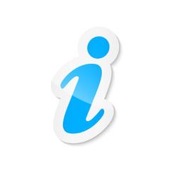 Light blue information sticker icon on white background