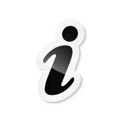 Black information sticker icon on white background